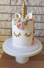 Load image into Gallery viewer, unicorn birthday cake gold horn buttercream