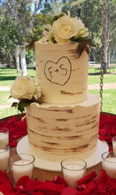 Load image into Gallery viewer, tree bark wedding cake rustic initials carving flowers