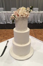 Load image into Gallery viewer, White Wedding Cake with Sugar Flowers