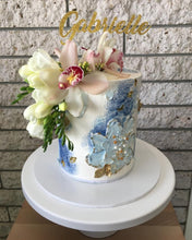 Load image into Gallery viewer, buttercream birthday cake gold cake topper flowers
