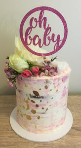 Baby Shower Cake with gold leaf flowers and Pink glitter cake topper