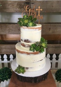Christening Cake with Succulents and Wooden Topper