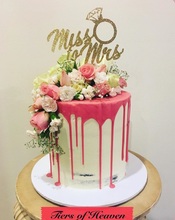 Load image into Gallery viewer, Engagement Drip Cake with Flowers and Gold Topper