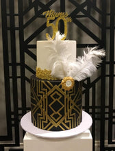 Load image into Gallery viewer, 50th birthday cake black and gold retro great gatsby feather