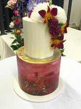 Load image into Gallery viewer, 2 tier birthday cake gold leaf flowers buttercream