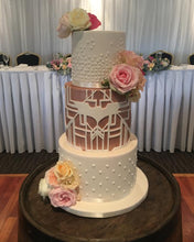 Load image into Gallery viewer, 3 tier wedding cake batman rose gold dark knight flowers