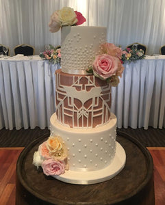 3 tier wedding cake batman rose gold dark knight flowers