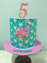 Load image into Gallery viewer, 5th birthday cake pink flamingo