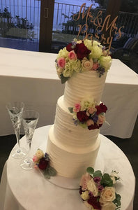 3 tier wedding cake flowers wooden cake topper