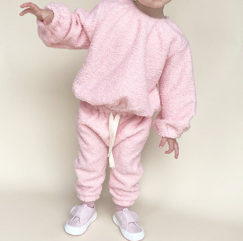 COZY TRACKIES - PINK TEDDY