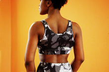 Load image into Gallery viewer, Monochrome - Shakolo grey camoflage sports bra back view