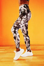 Load image into Gallery viewer, Monochrome - Shakolo grey camoflage high waisted leggings side view