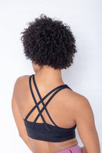 Load image into Gallery viewer, Shakolo crossover bra in black back view close up