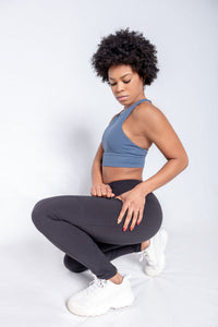 Shakolo high neckline bra in dark blue and high waist leggings side view