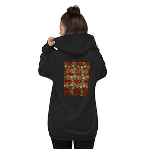 Shakolo zip up hoodie back view with African print and the words Decide Commit Succeed