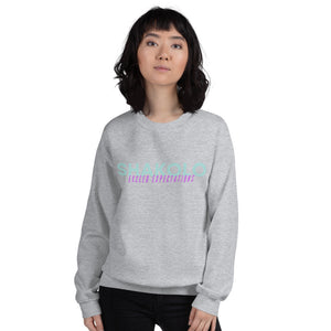 Grey crewneck sweatshirt with the words Shakolo exceed expectations written on the front in light blue and purple colors