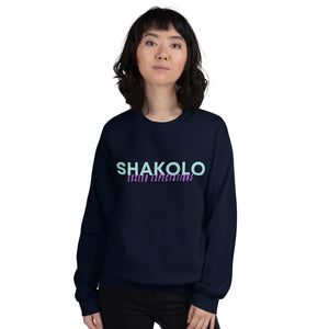 Navy crewneck sweatshirt with the words Shakolo exceed expectations written on the front in light blue and purple colors