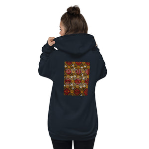 Shakolo navy zip up hoodie back view with African print and the words Decide Commit Succeed