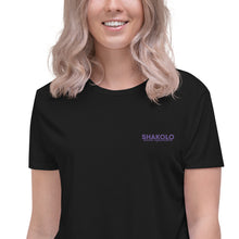 Load image into Gallery viewer, Flowy crop top with the words Shakolo Exceed Expectations embroidered on the left side in black