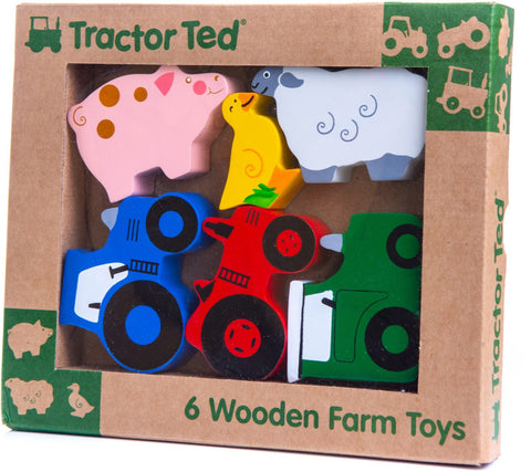 tractor ted, tractor ted toys, wooden farm toys, tractor, farm animals, wooden, childrens, gift, toys, present, flrrie & will