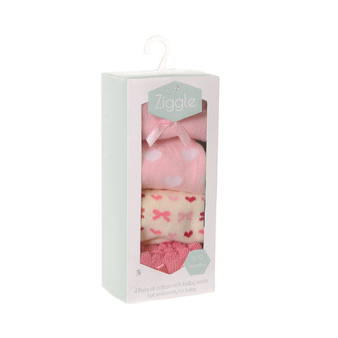 ziggle, ziggle socks, baby socks, baby girl, hearts, bows, cream, pink, present, gift, florrie & will