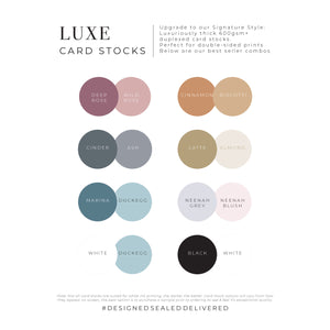 DSD Luxe Card Stocks best seller colour combo swatches