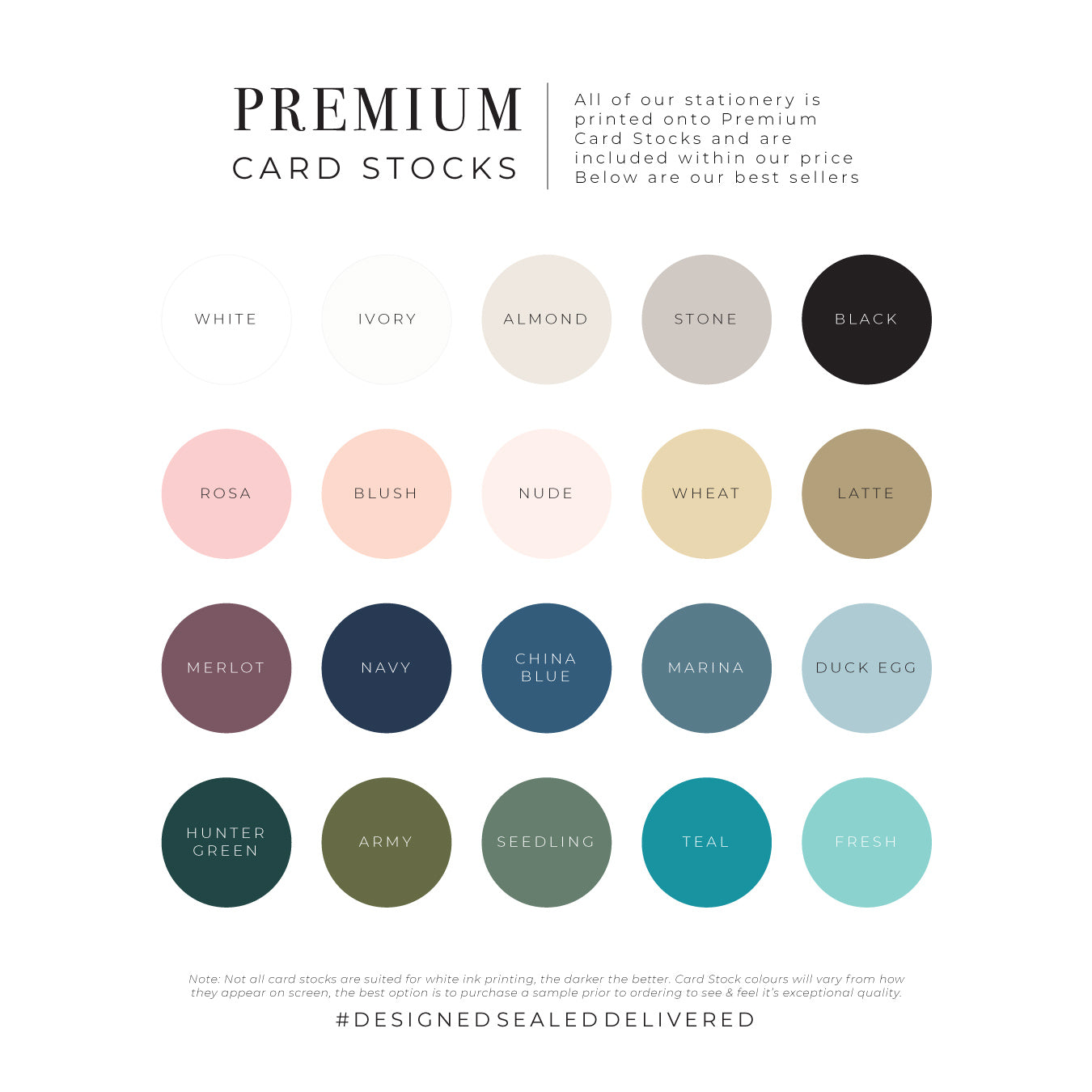 DSD Premium Card Stock Best seller colours swatches