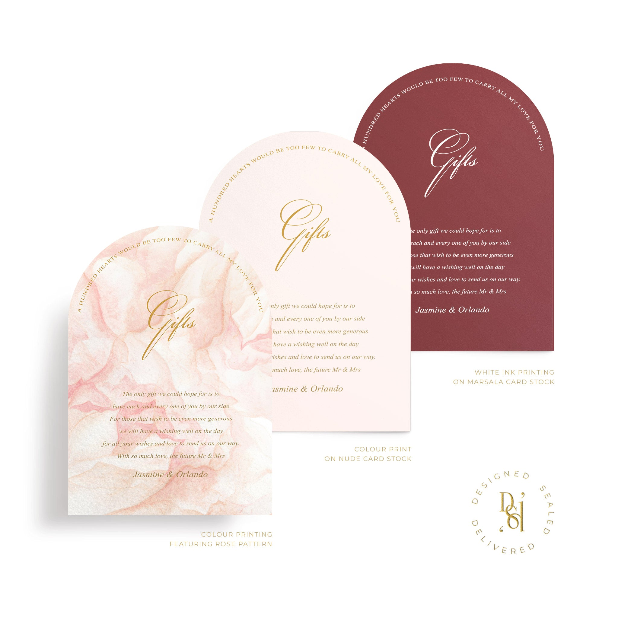 Rosé Collection: Arched Gifts card in variety of print options; rosé pattern print, colour print, white ink