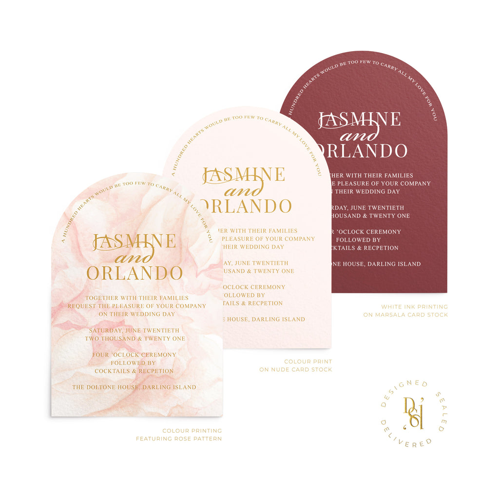 Luxury Arched Wedding Invitation shown in 3 varying print options; colour pattern print, colour print or white ink printing