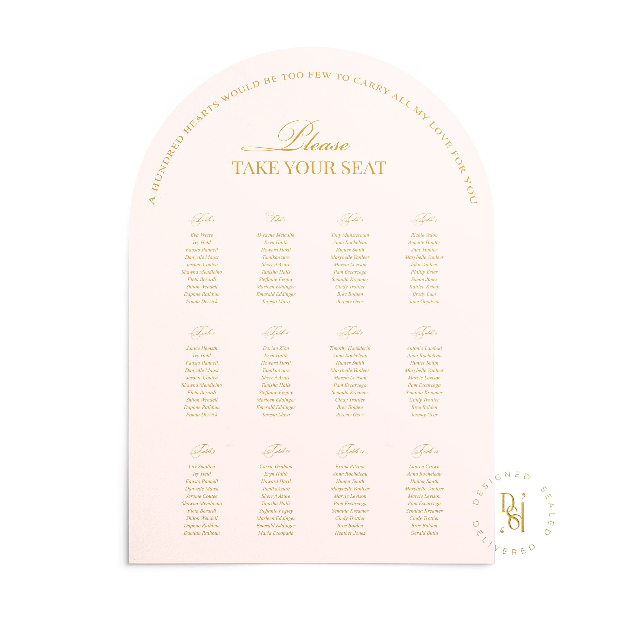 Rosé Collection: Matching Arched Seating Chart