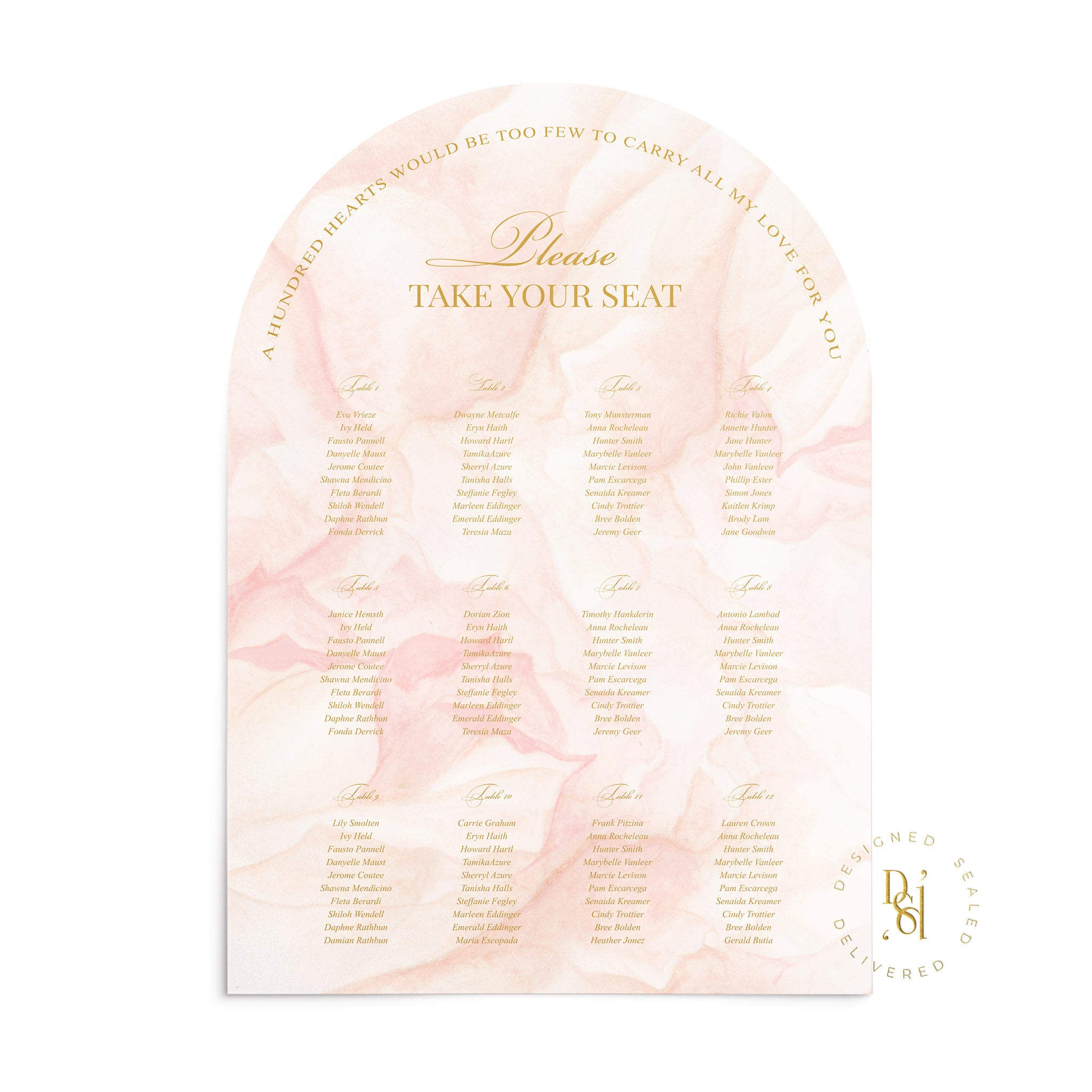 Rosé Collection: Matching Arched Seating Chart featuring rosé pattern