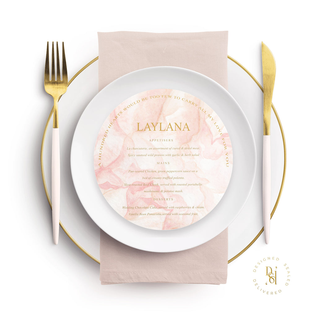 Rosé Collection: Round Personalised Wedding Menu; Colour Print
