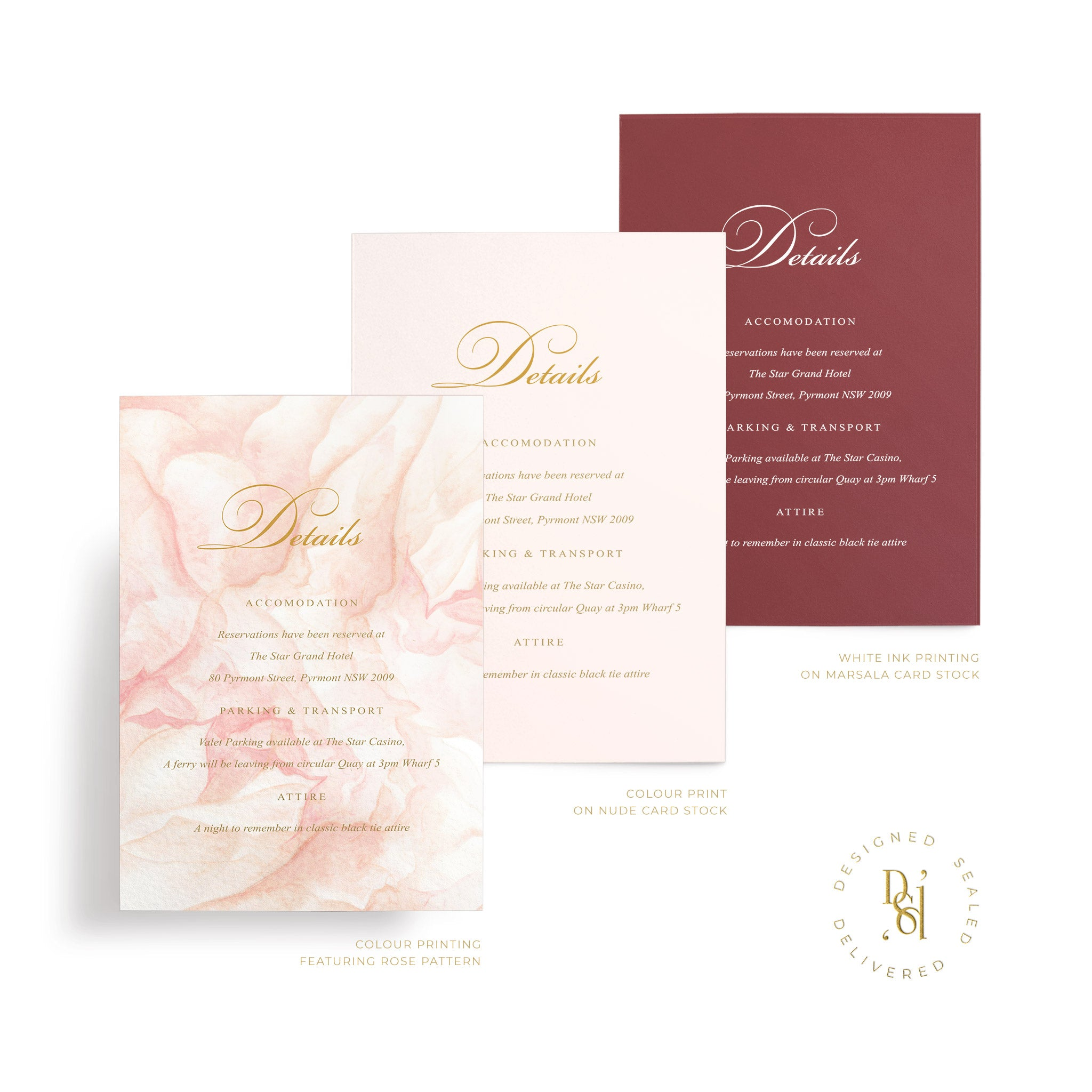 Rosé Collection: Details card in variety of print options; rosé pattern print, colour print, white ink
