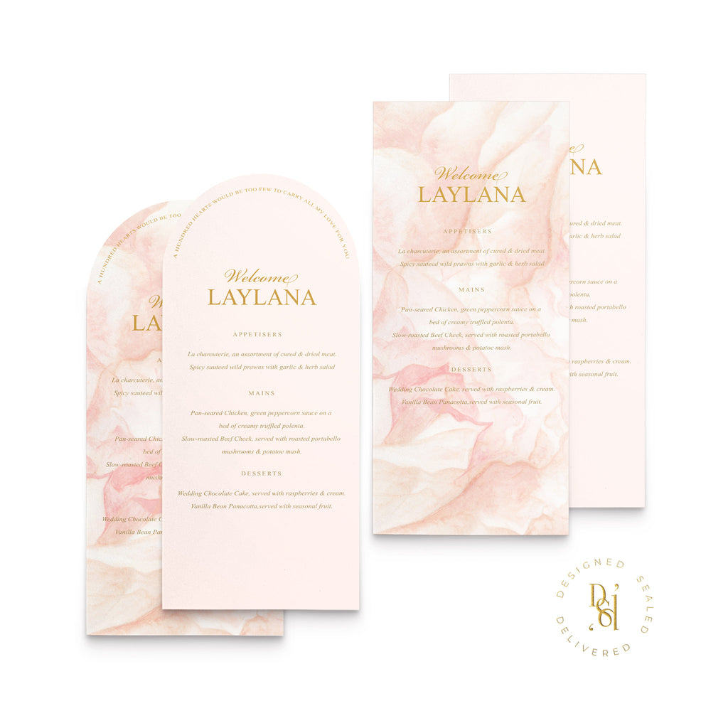 Rosé Collection: Arched and Rectangle Personalised Wedding Menu; Colour Print