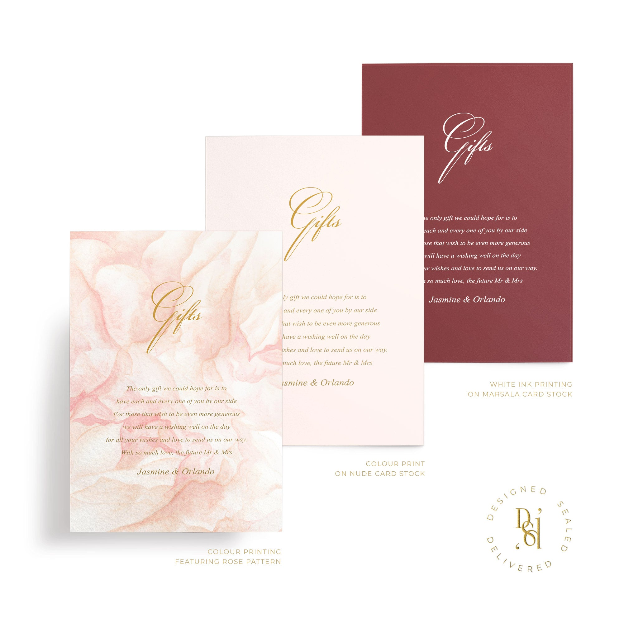 Rosé Collection: Gift card in variety of print options; rosé pattern print, colour print, white ink