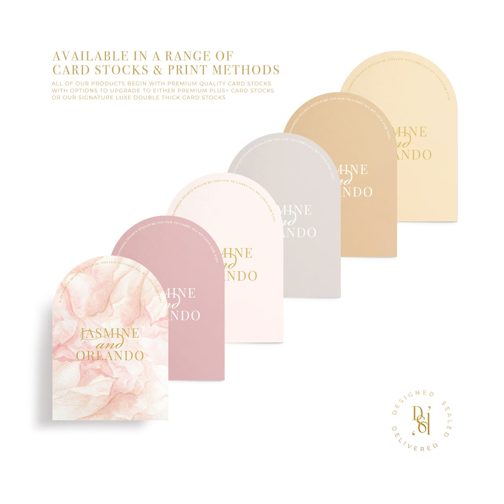 Rosé Collection: Sample invitations in variety of premium coloured card stock options