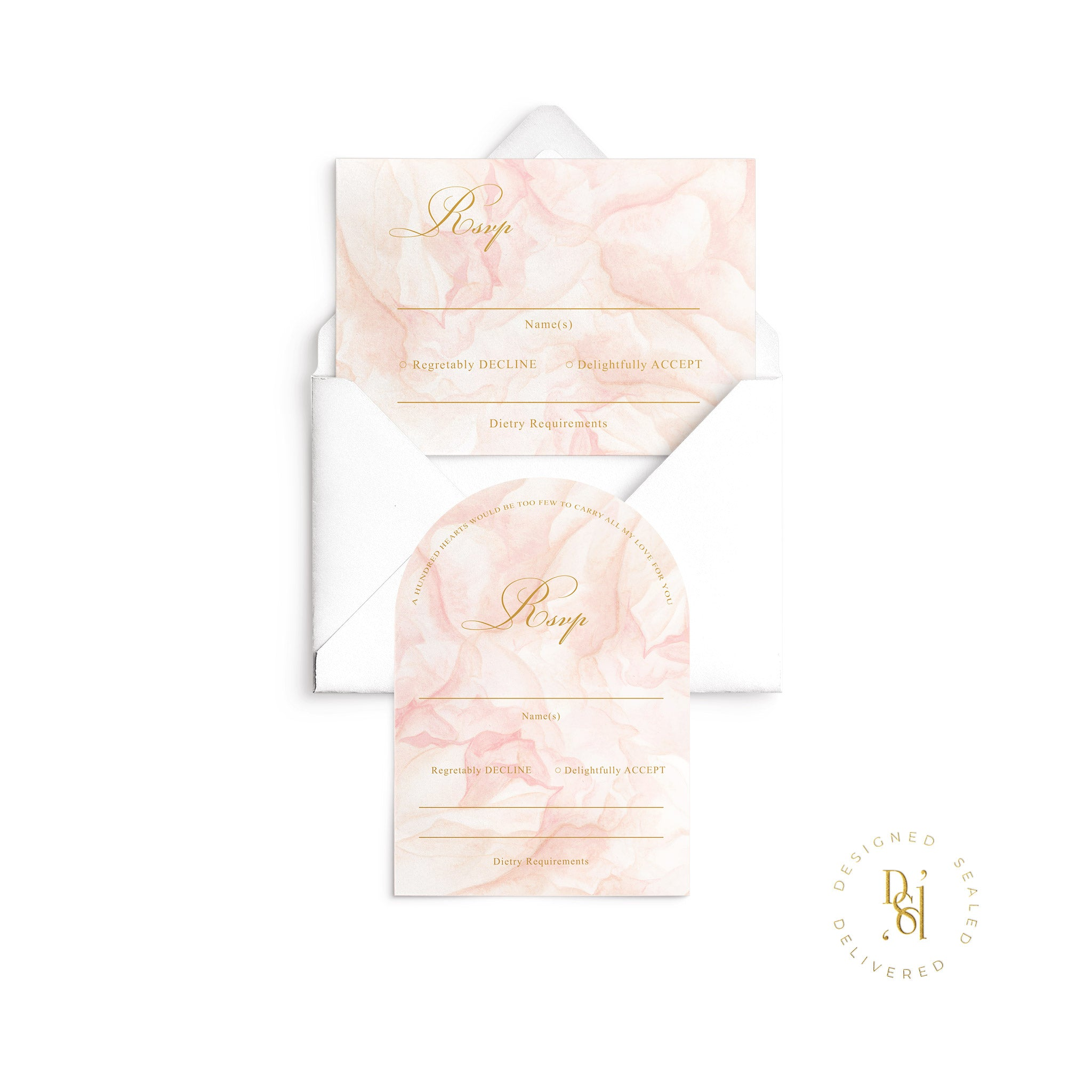 Rosé Collection: Arched and Standard Rectangle Rsvp Card featuring Rosé pattern printed on premium card stock with white envelope