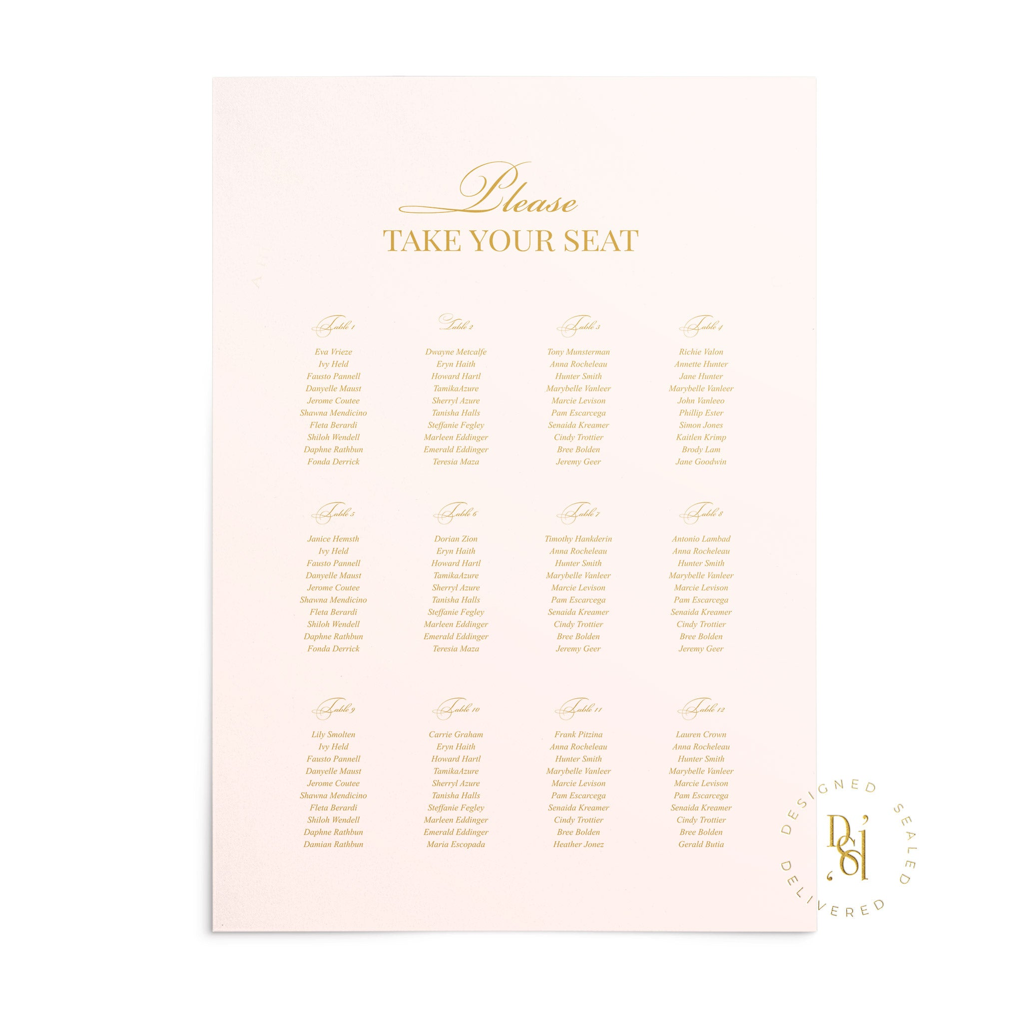 Rosé Collection: Matching Seating Chart