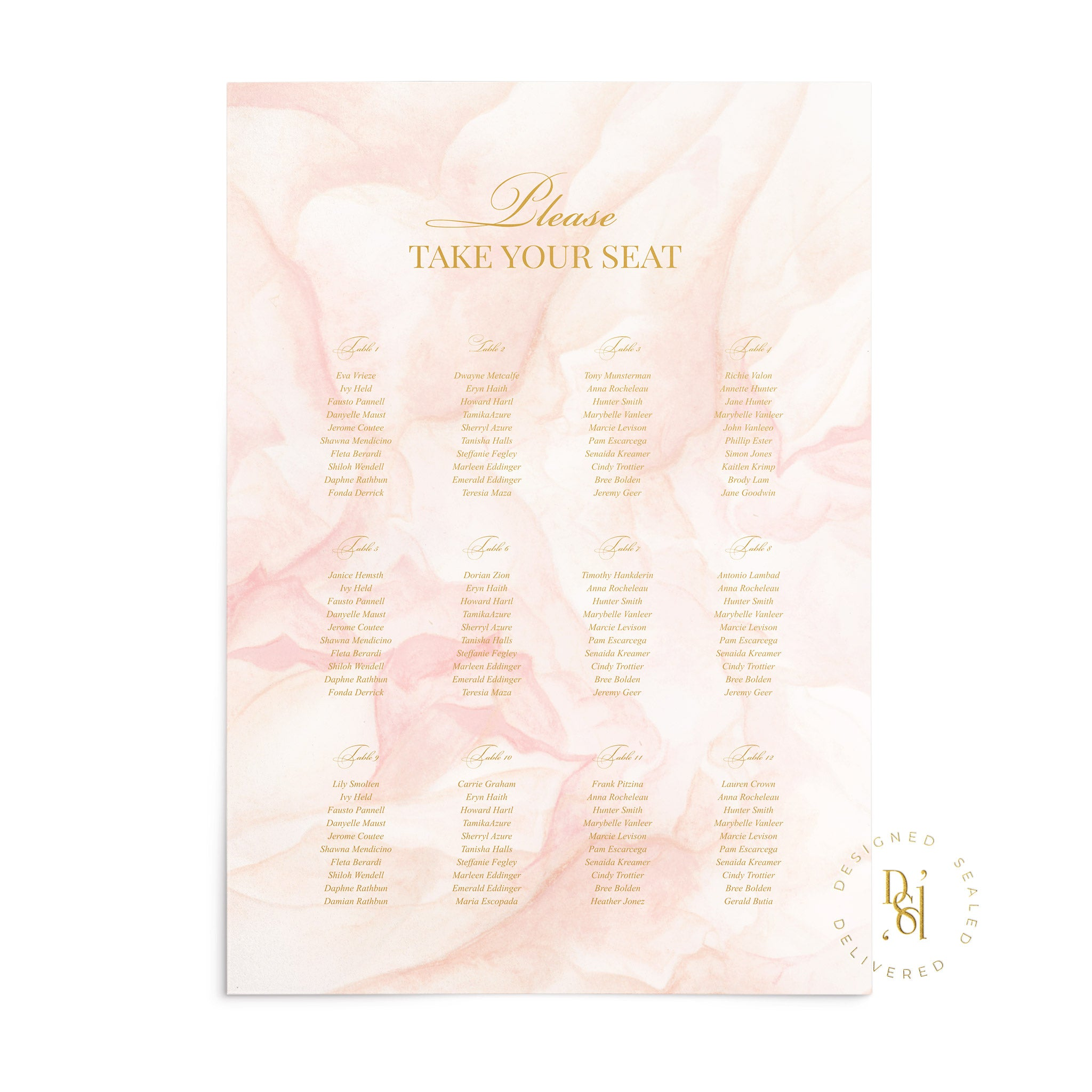 Rosé Collection: Matching Seating Chart featuring rosé pattern