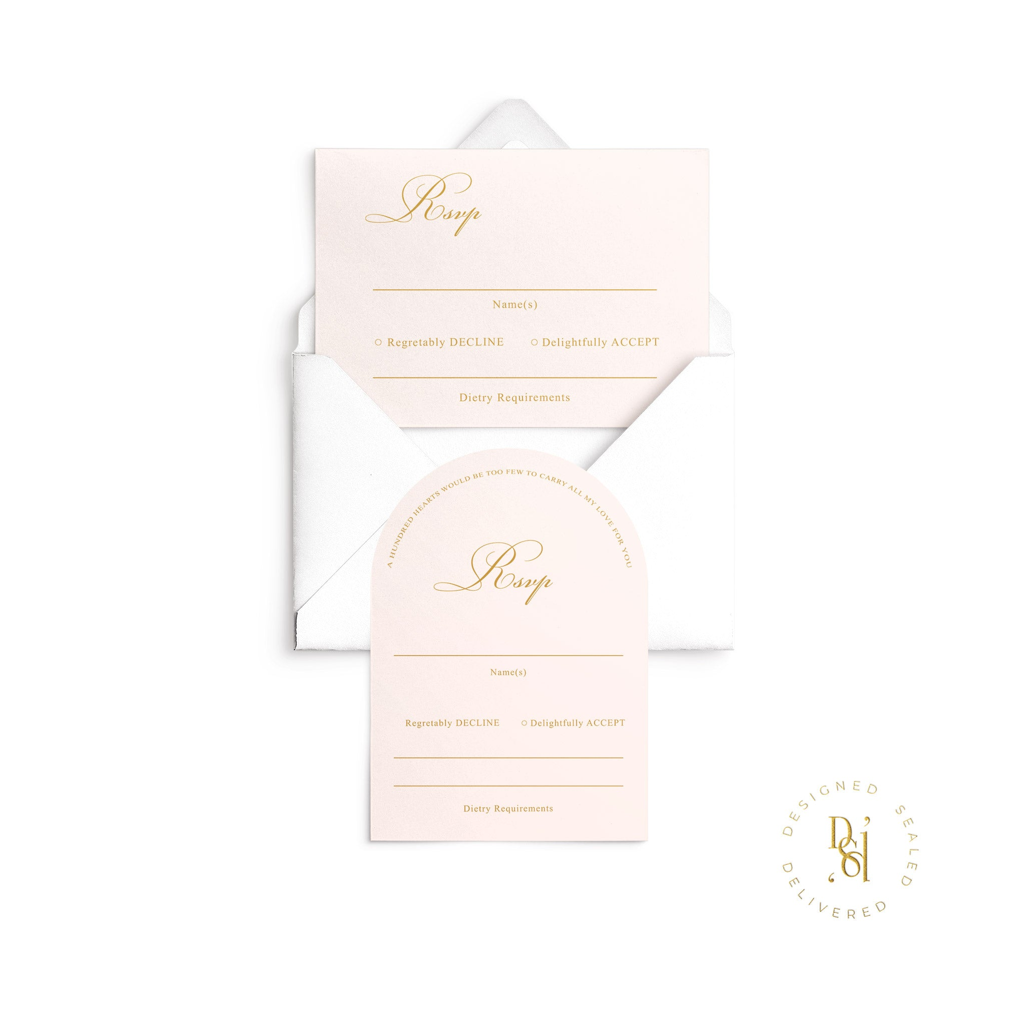 Rosé Collection: Arched and Standard Rectangle Rsvp Card on nude premium card stock with white envelope