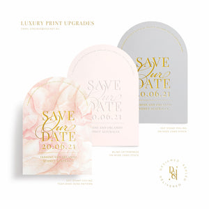 Rosé Collection: Luxury Print Save the Date Card Upgrade, gold hot stamp foiling and letterpress options