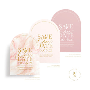 Rosé Collection: Arch Save the Date Cards, variety of print options shown; rosé pattern print, colour print, white ink
