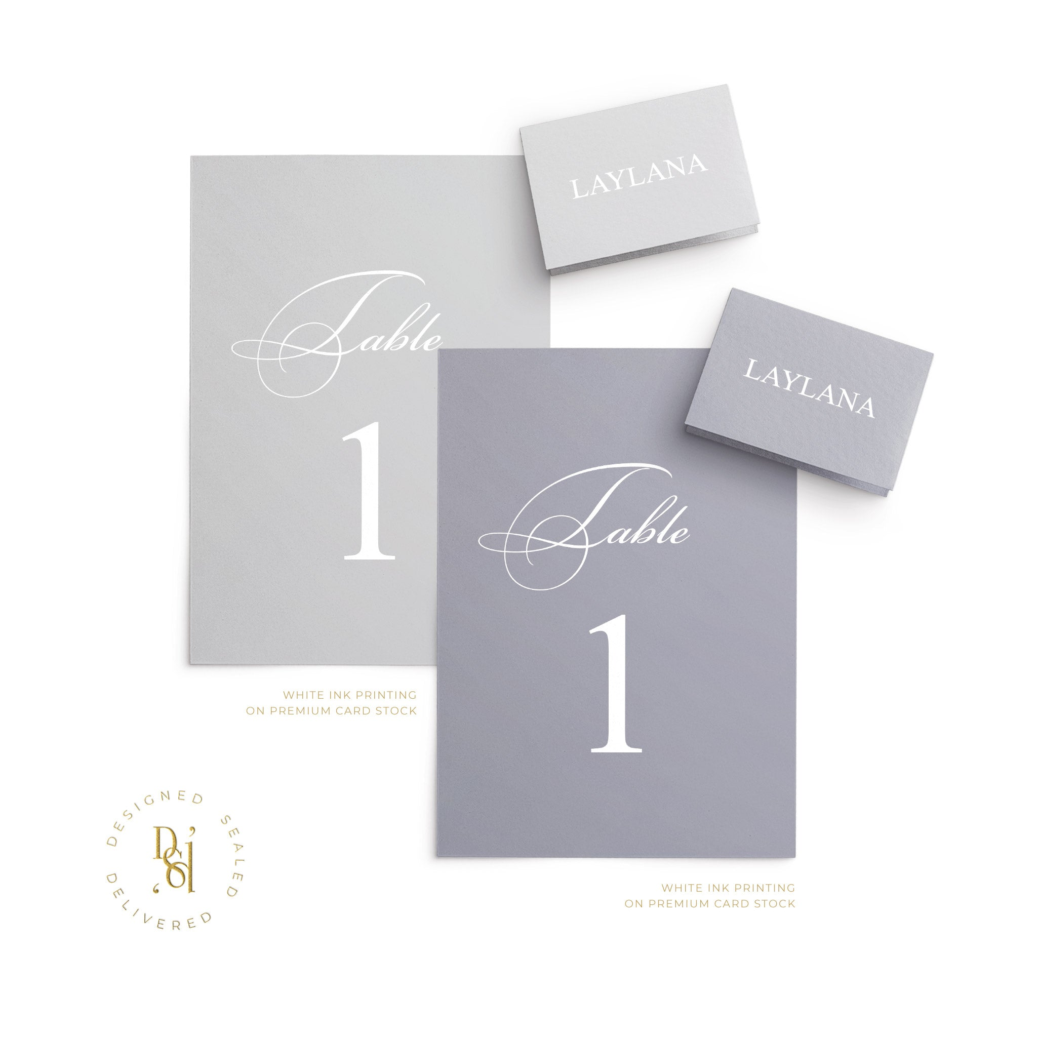 Rosé Collection: Table Numbers with white ink printing on premium grey card stocks