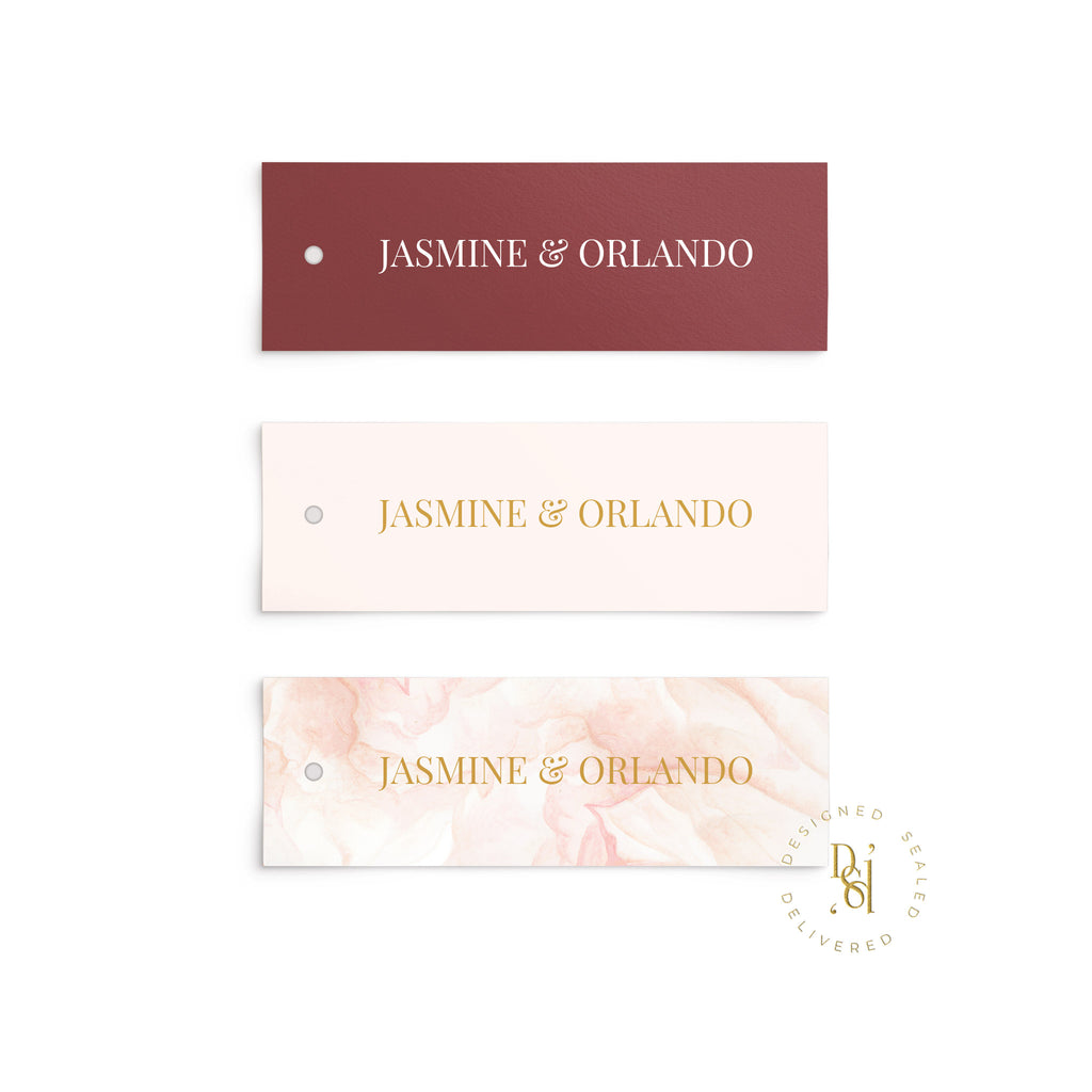 Rosé Collection: Personalised Wedding Tags in variety of options; White Ink print, colour print, pattern colour print