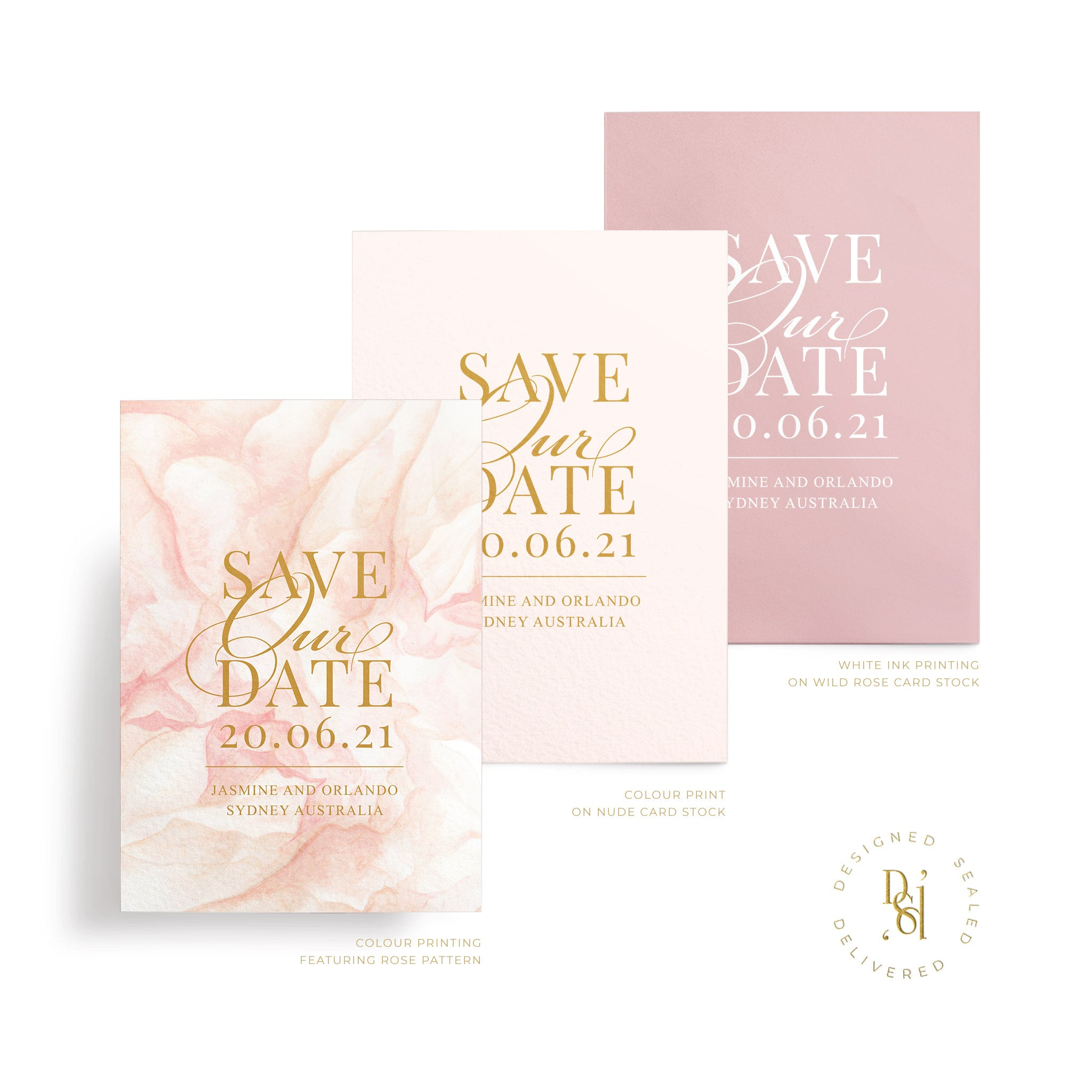 Rosé Collection: Save the Date Cards, variety of print options shown; rosé pattern print, colour print, white ink