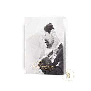 Luxury wedding stationery, folded thank you card