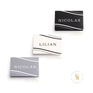 Zephyr Collection: Luxury Personalised Wedding Placecards; variety of print options; colour printing, white ink printing