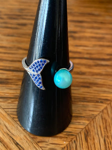 Dolphin Tail Ring Blue