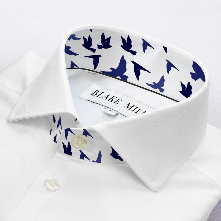 White with Birds Accents Shirt
