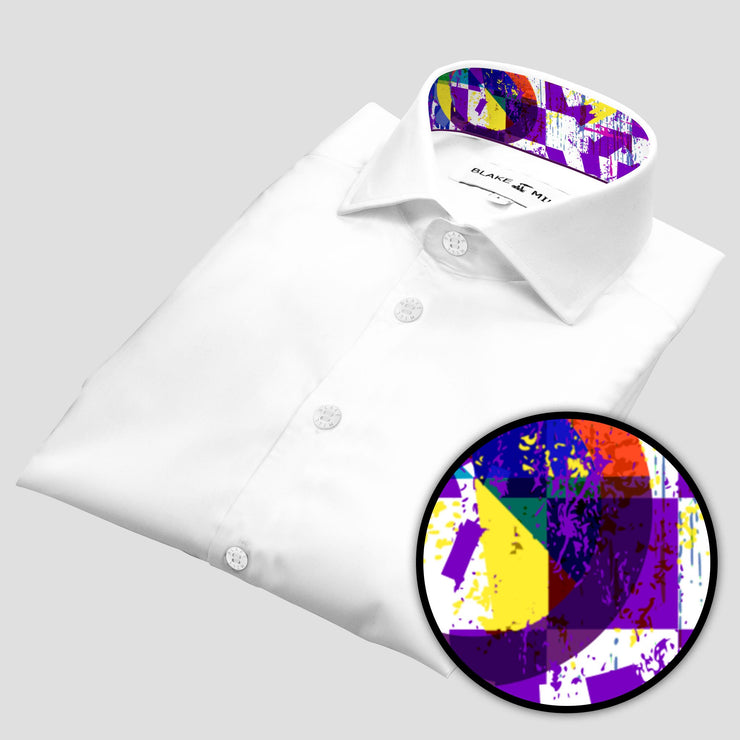 White with Abstract Purple Accents Shirt